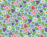 Helen's Meadow - Pink Aqua Blue by Helen Dardik from Clothworks