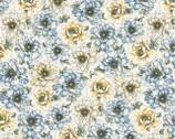 Flowering Peony - Cream Blue Peony from Benartex