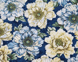 Flowering Peony - Blue Peony from Benartex