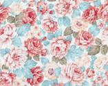 Ruru Rose Bouquet Blue from Quilt Gate