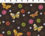 Spice Garden - Flower Butterflies Brown from Clothworks
