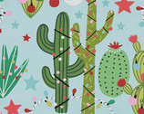Christmas Time - Cactus Christmas Light Blue from Alexander Henry
