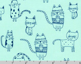Whiskers and Tails - Cats Aqua from Robert Kaufman