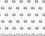 Whiskers and Tails - Little Cats Face White from Robert Kaufman