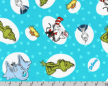 Celebrate Seuss - Character Bubbles Turquoise by Dr. Seuss from Robert Kaufman