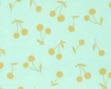 Simply Gold METALLIC Linen Canvas - Big Cherry Mint Aqua from Kokka