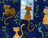Cats Vines Window Dark Blue from EE Schenck