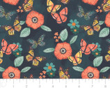 Monarch Grove - Flowers Blue Nights by Sara Berrenson from Camelot Fabrics