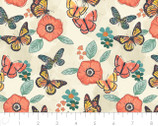 Monarch Grove - Flowers Cream by Sara Berrenson from Camelot Fabrics