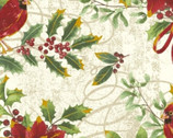 Noel - Cardinal Floral Cream with Metallic by Whistler Studios from Windham Fabrics