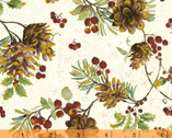 Noel - Pinecones Cream with Metallic by Whistler Studios from Windham Fabrics