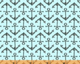 High Tide - Anchors Aqua Blue by Whistler Studios from Windham Fabrics