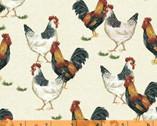 Sunflower Market - Chickens Cream by Whistler Studios from Windham Fabrics