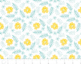 Flutter and Buzz - Floral Wreath Turquoise by Heather Rosas from Camelot Fabrics