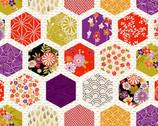 Kimono - Hexagon Patch White from Makower UK
