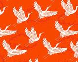 Kimono - Cranes Red Orange from Makower UK