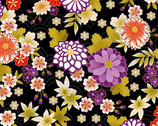 Kimono - Chrysanthemum Black from Makower UK