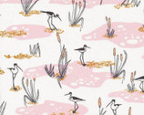 Terrestrial - Wetlands Pink by Sarah Watson from Cloud 9 Fabrics