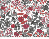 Lintu - Peacock Floral Red by Finlayson from Camelot Fabrics
