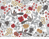 Lintu - Peacock Floral Grey by Finlayson from Camelot Fabrics