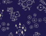 Botanical LINEN CANVAS - Flowers Toss Navy Blue from Kokka