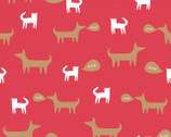 Neighborhood - Cats and Dogs Red by Alyson Beaton from Windham Fabrics