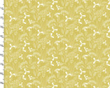 Farm Fresh - Floral Leaves Mustard Yellow by Flora Waycott from 3 Wishes Fabric