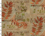 Rustic Roosters Digitally Printed Fabric - Words Tan from 3 Wishes Fabric