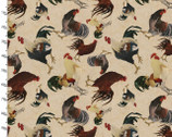 Rustic Roosters Digitally Printed Fabric - Roosters Cream from 3 Wishes Fabric