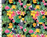 Tropicale Digitally Printed - Toucan Bird Floral Black from 3 Wishes Fabric