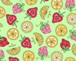 Lil' Sprout FLANNEL Too - Strawberries and Lemons Green from Maywood Studio