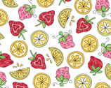Lil' Sprout FLANNEL Too - Strawberries and Lemons White from Maywood Studio