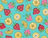 Lil' Sprout FLANNEL Too - Strawberries and Lemons Teal Aqua from Maywood Studio
