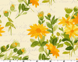 Fresh Picked - Floral Text Cream by Sue Zipkin from Clothworks