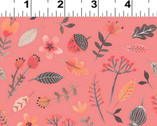 Forest Owl - Forest Floor Floral Pink by Rebecca Jones from Clothworks