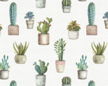 Cactus Garden - Cactus Verde Natural by Lisa Audit from David Textiles