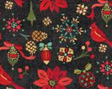 Christmas - Cardinals Poinsettias Black from David Textiles