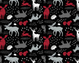 Hudson FLANNEL - Forest Animals Black from Camelot Fabrics