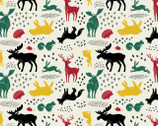 Hudson FLANNEL - Forest Animals Natural from Camelot Fabrics