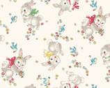 Dear Little World - Bunny Floral Toss Natural from Quilt Gate