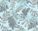 Etoffe Imprevue OXFORD - Leafs Blue from Lecien Fabric