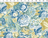 Romance - Large Floral Toss Blue Yellow by Jason Yenter from In The Beginning Fabric