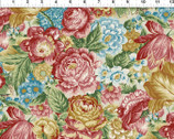Romance - Large Floral Toss Red Gold by Jason Yenter from In The Beginning Fabric