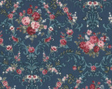 Rose Life Garden - Rose Garland Medallion Teal by Kayo Enza from Lecien Fabric