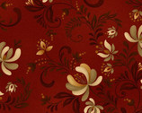 Plain and Simple - Folk Flower Toss Red from Henry Glass Fabric
