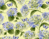 Heavenly Hydrangeas - Flower and Butterfly Pale Yellow by Sue Zipkin from Clothworks Fabrics