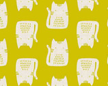 Cats and Dogs - Cats Yellow by Sarah Golden from Andover Fabrics