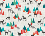 Into The Woods - Deer Forest Natural from Studio E Fabrics