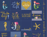 Let's Be Mermaids - PANEL Navy Sparkle by Melissa Mortenson from Riley Blake Fabric