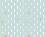 Let's Be Mermaids - Sea Horse Mint Sparkle by Melissa Mortenson from Riley Blake Fabric